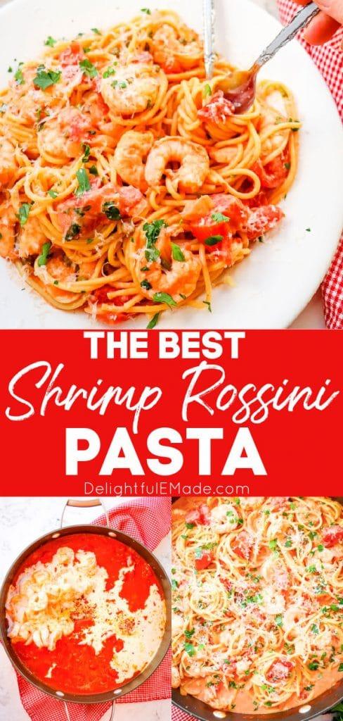 Shrimp rossini pasta, plated, in rose pasta sauce in skillet.