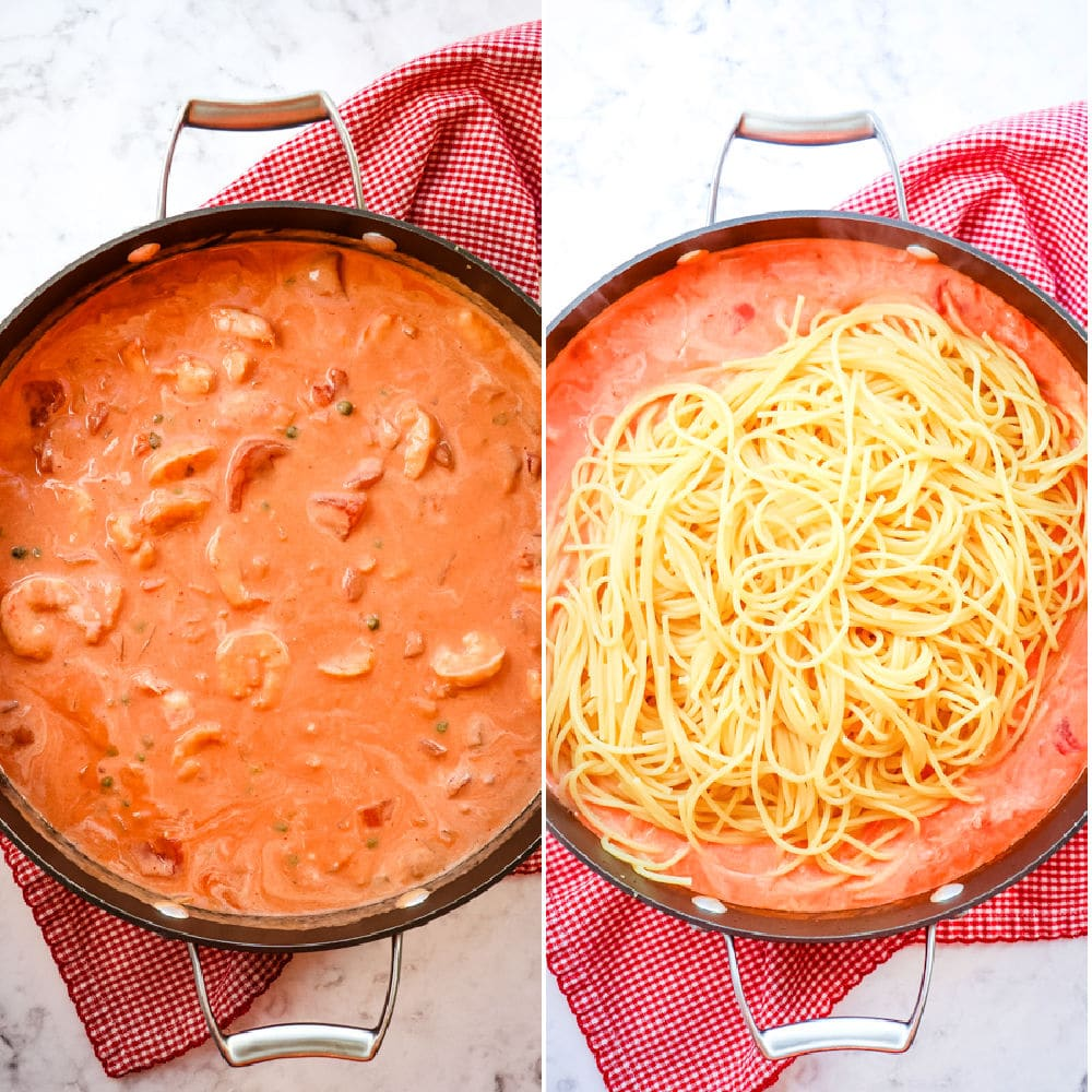 Rose pasta sauce with shrimp, and spaghetti added.