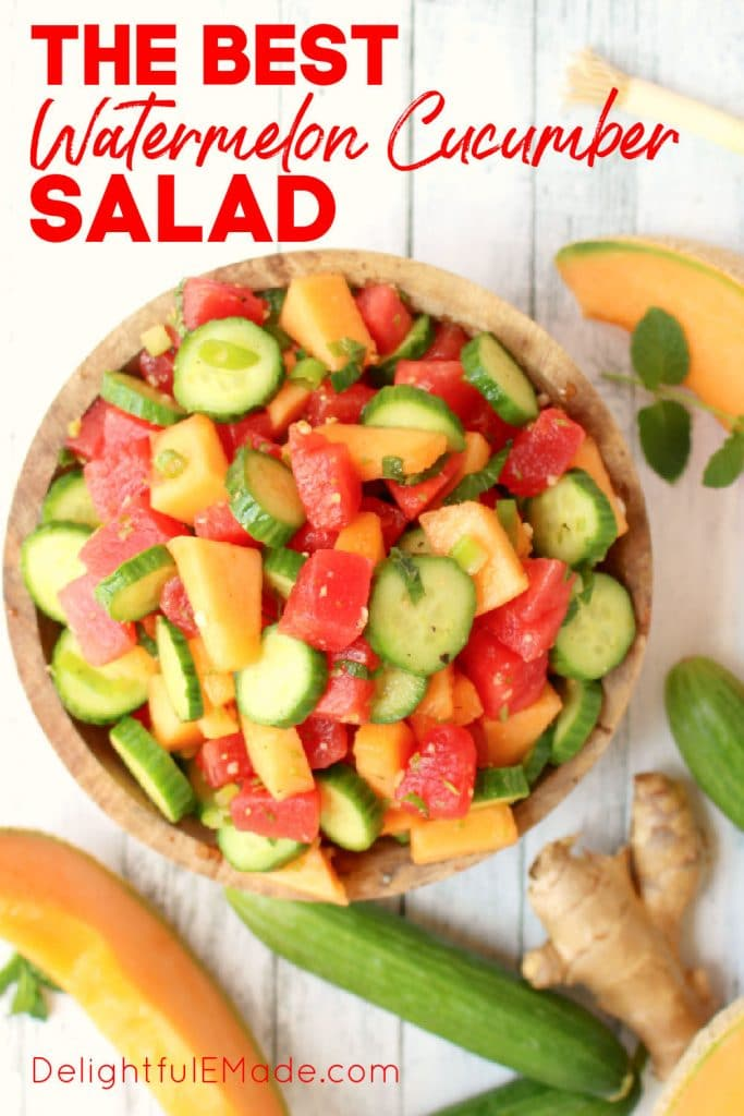 Watermelon cucumber salad in bowl with cucumbers and mint on the side.