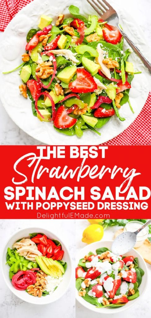 Avocado strawberry salad recipe with poppy seed dressing.
