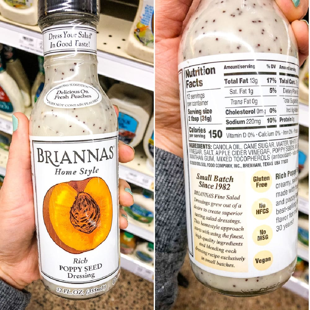 Store bought creamy poppy seed dressing, label comparison.