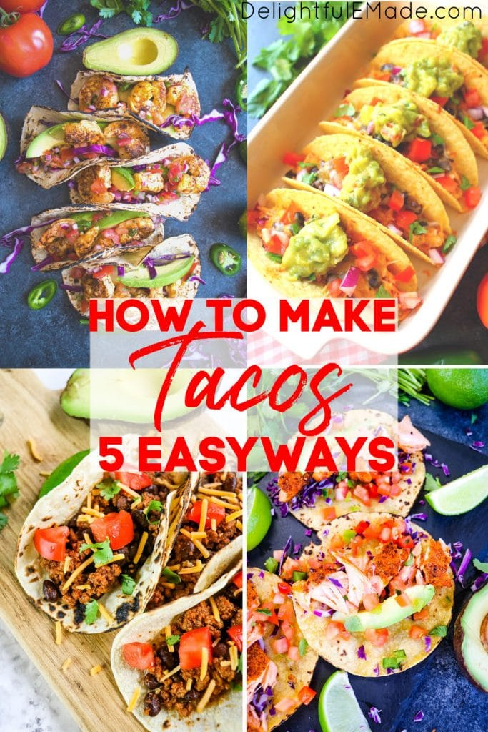 Easy taco recipes, shrimp tacos, chicken tacos, ground beef tacos, salmon tacos on boards and dish.