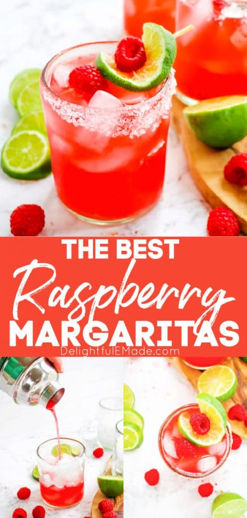 Raspberry margarita recipe, on the rocks topped with fresh limes and raspberries.