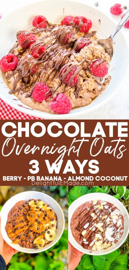 Chocolate protein overnight oats, with raspberries, with peanut butter banana and with almond coconut.