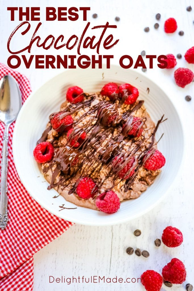 Chocolate protein oats, chocolate overnight oats with raspberries and chocolate.