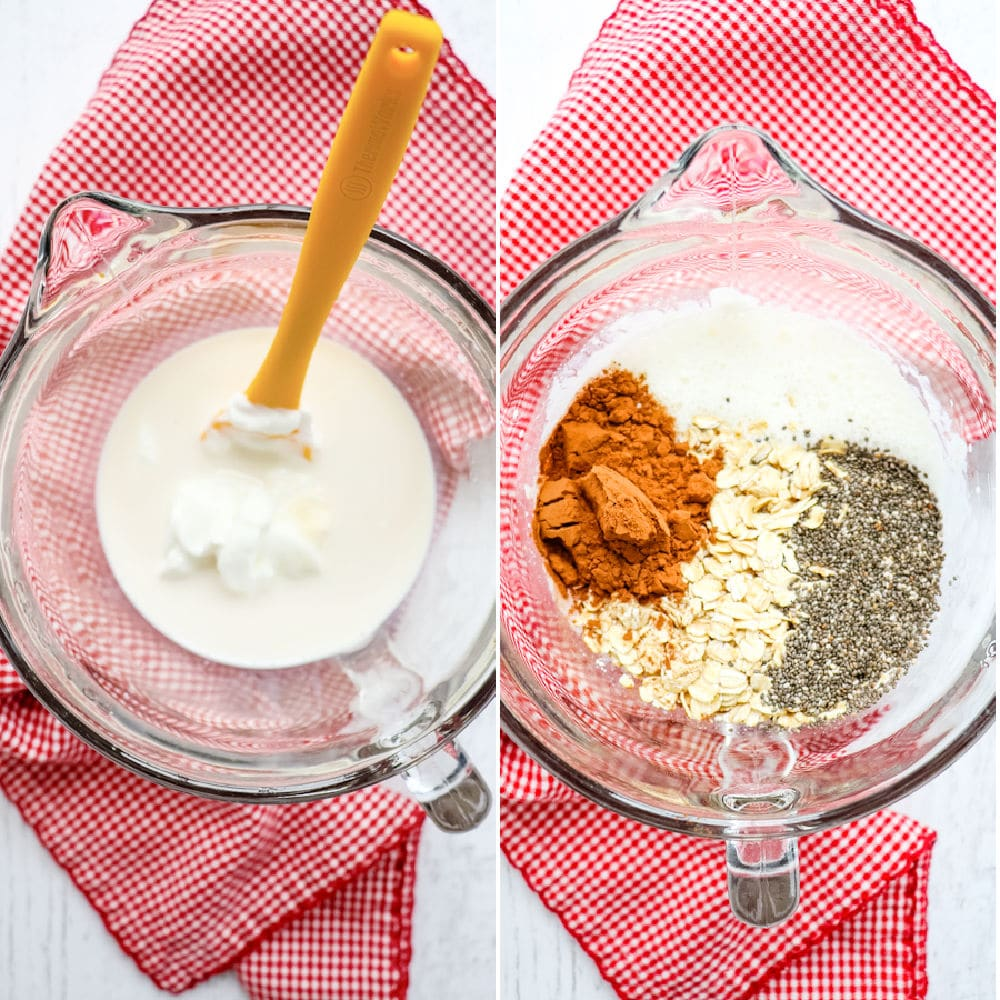 First steps to making chocolate protein overnight oats, wet ingredients and dry ingredients.