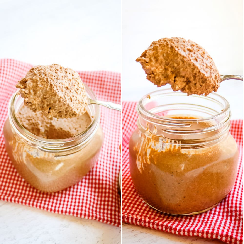 Chocolate protein overnight oats in mason jar being spooned out.