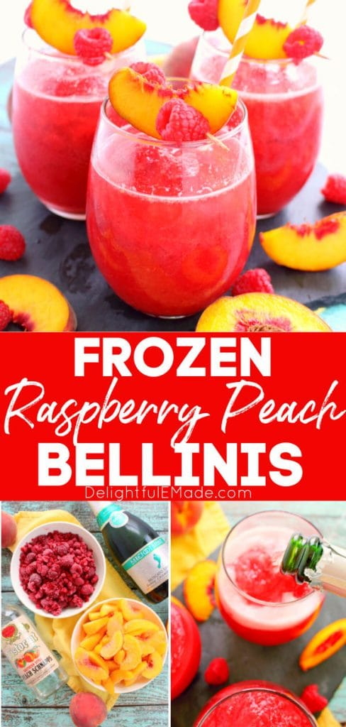 Frozen peach bellini recipe served in wine glasses and topped with fresh peach slices and raspberries.