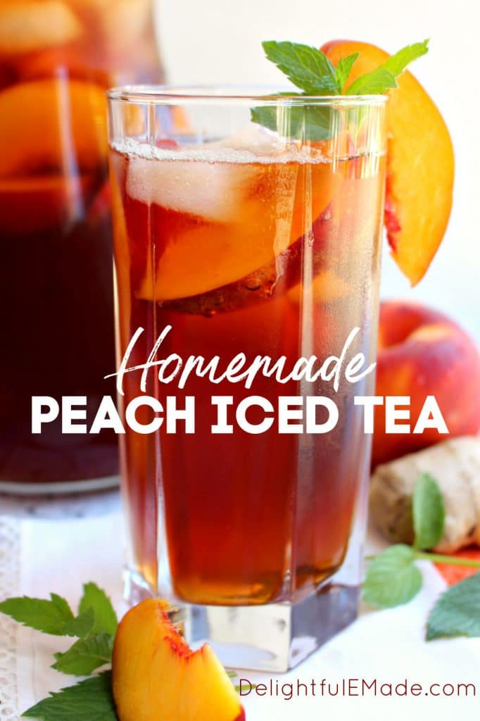 Tall glass of ginger peach tea, with peach and mint garnish.