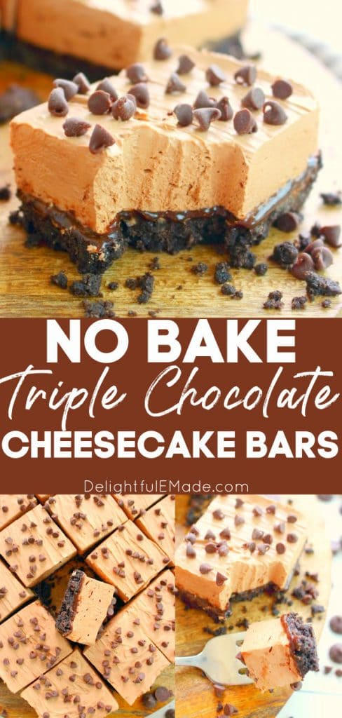 Chocolate cheesecake bars, on board, with chocolate chips and oreo crust.