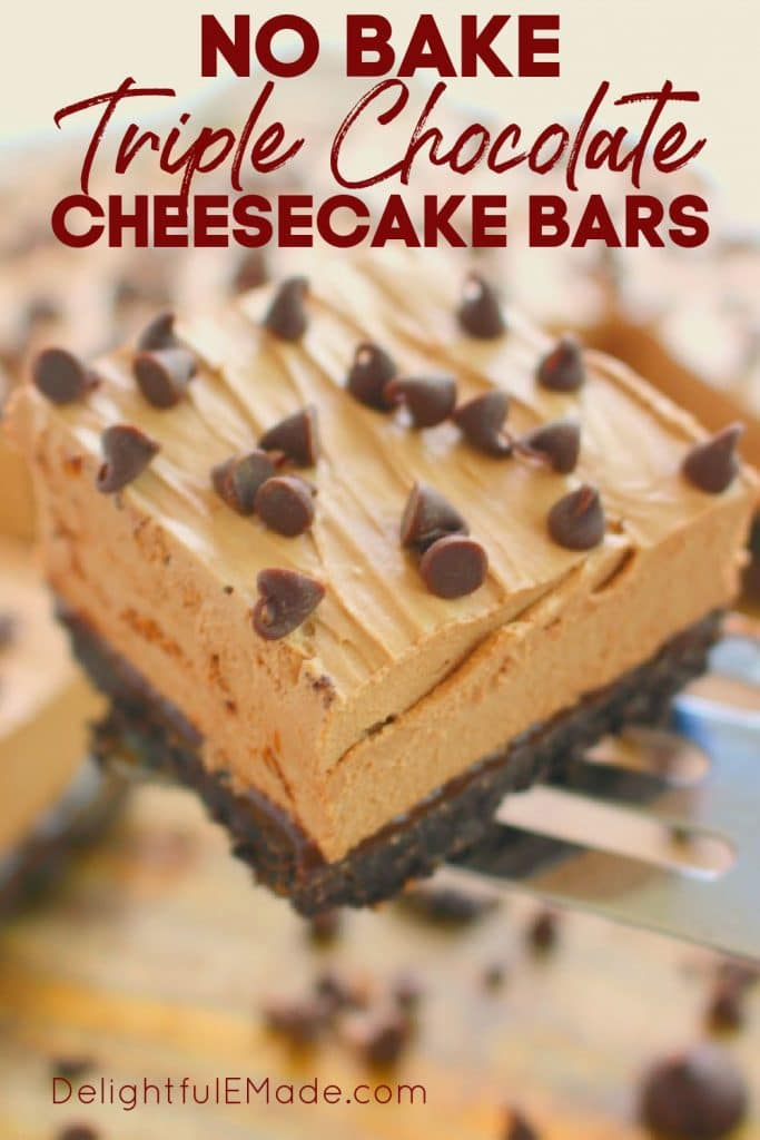 Slice of chocolate cheesecake bars topped with chocolate chips.
