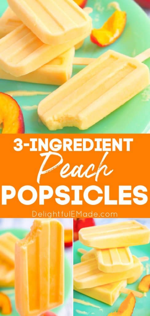 Easy peach pops, peach popsicles stacked on a green plate.
