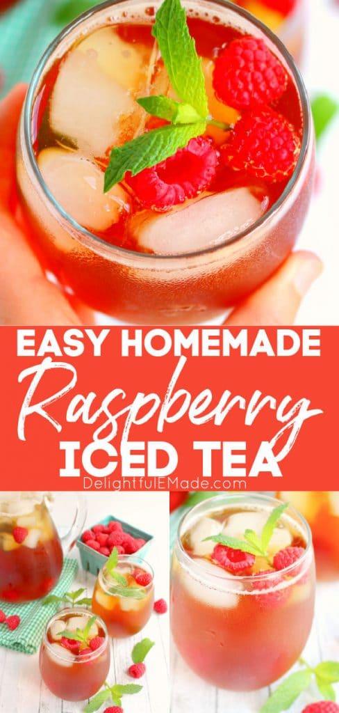 Homemade raspberry iced tea, glass of mint iced tea with mint sprigs.
