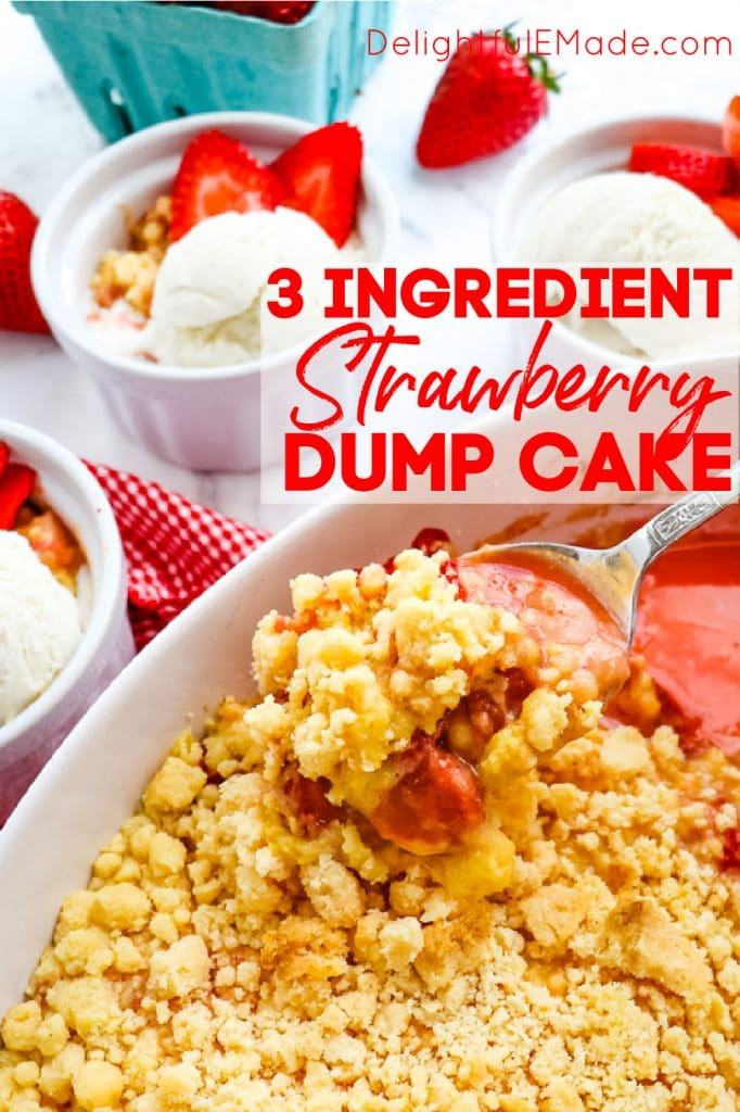 Strawberry cobbler with cake mix, strawberry dump cake recipe in baking dish.