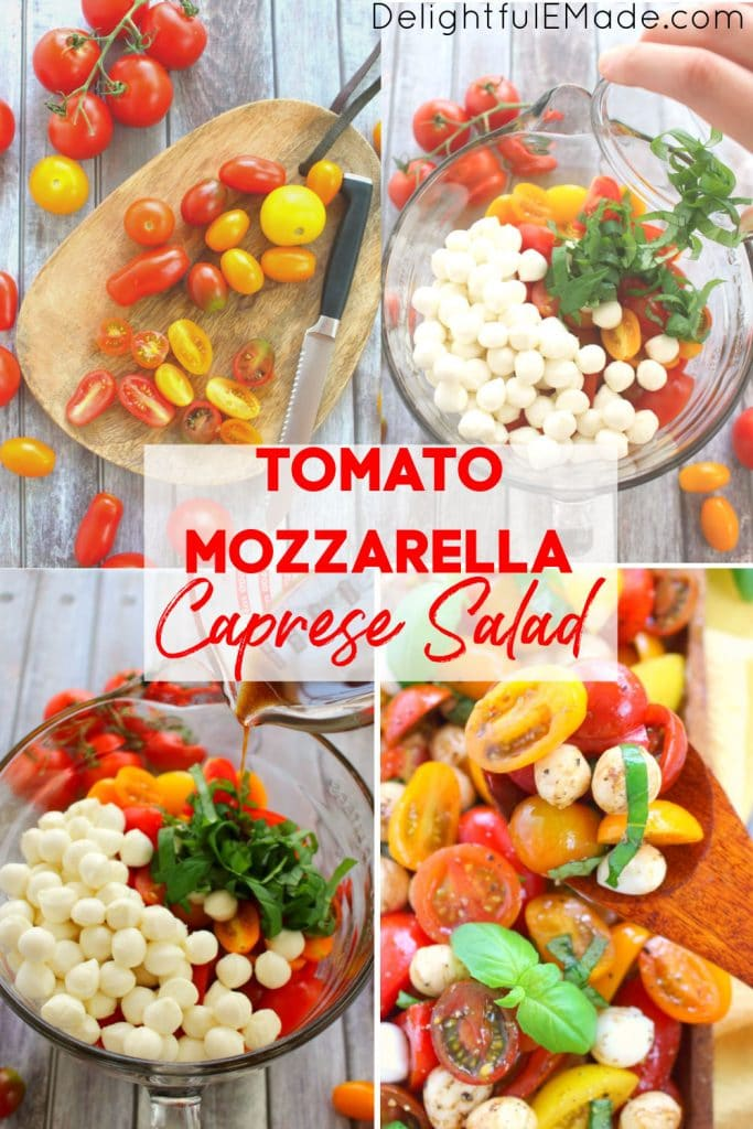 Tomato basil mozzarella salad, caprese salad with cherry tomatoes, in bowl with fresh basil leaves.