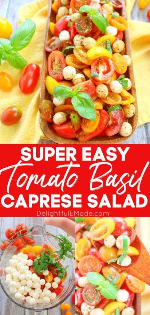 Tomato basil mozzarella salad, easy italian caprese salad with cherry tomatoes.