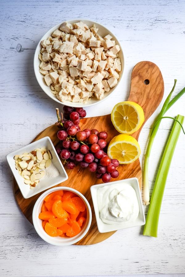 Ingredients needed for Greek yogurt chicken salad.