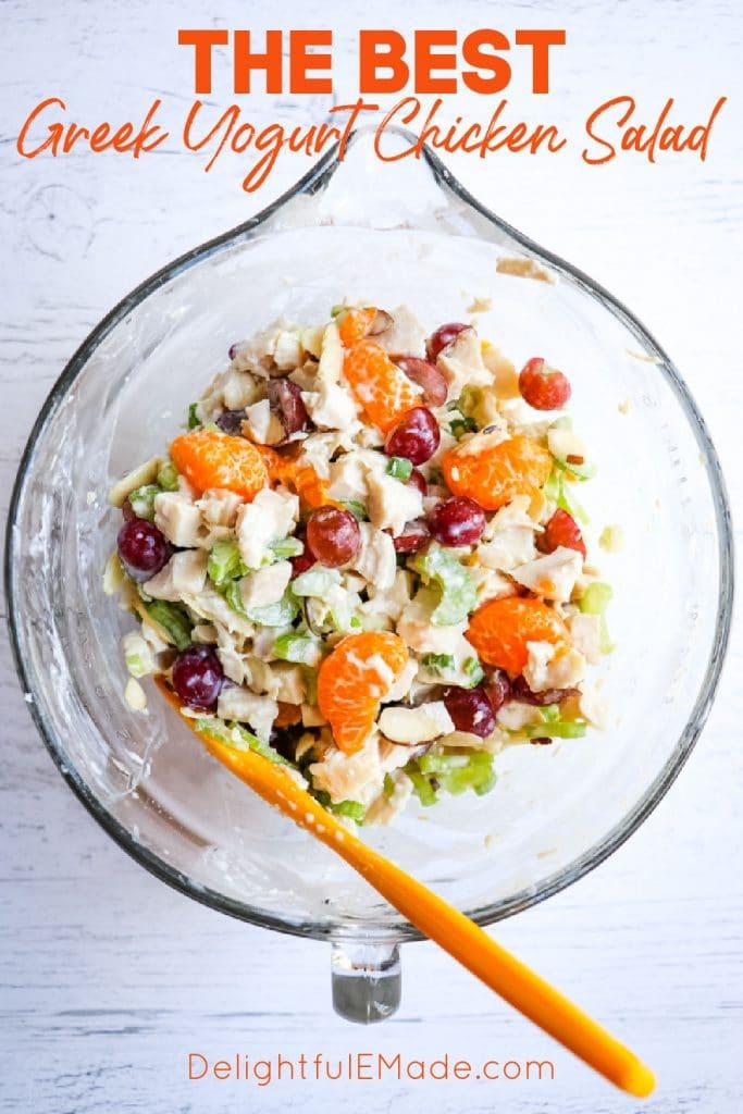 Greek yogurt chicken salad recipe in a mixing bowl.