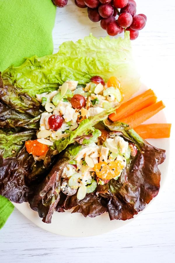 Greek yogurt chicken salad in lettuce wraps