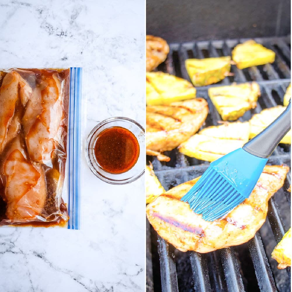 Pineapple chicken marinade reserved in bowl and brushed on grilled chicken.