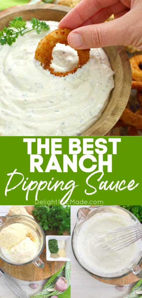 Ranch dipping sauce in a bowl, ingredients on table and mixed with a whisk.