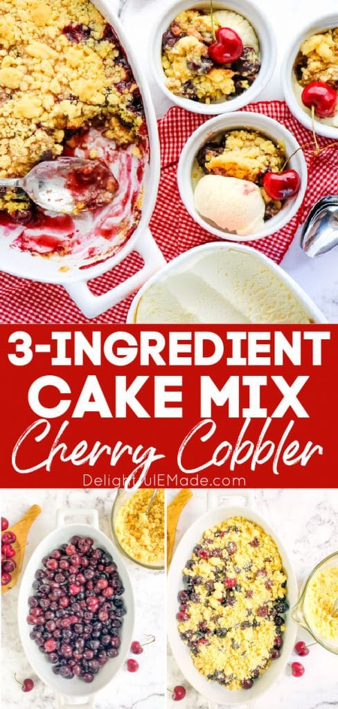 Cake mix cherry cobbler in baking dish with cherries, and served with vanilla ice cream.