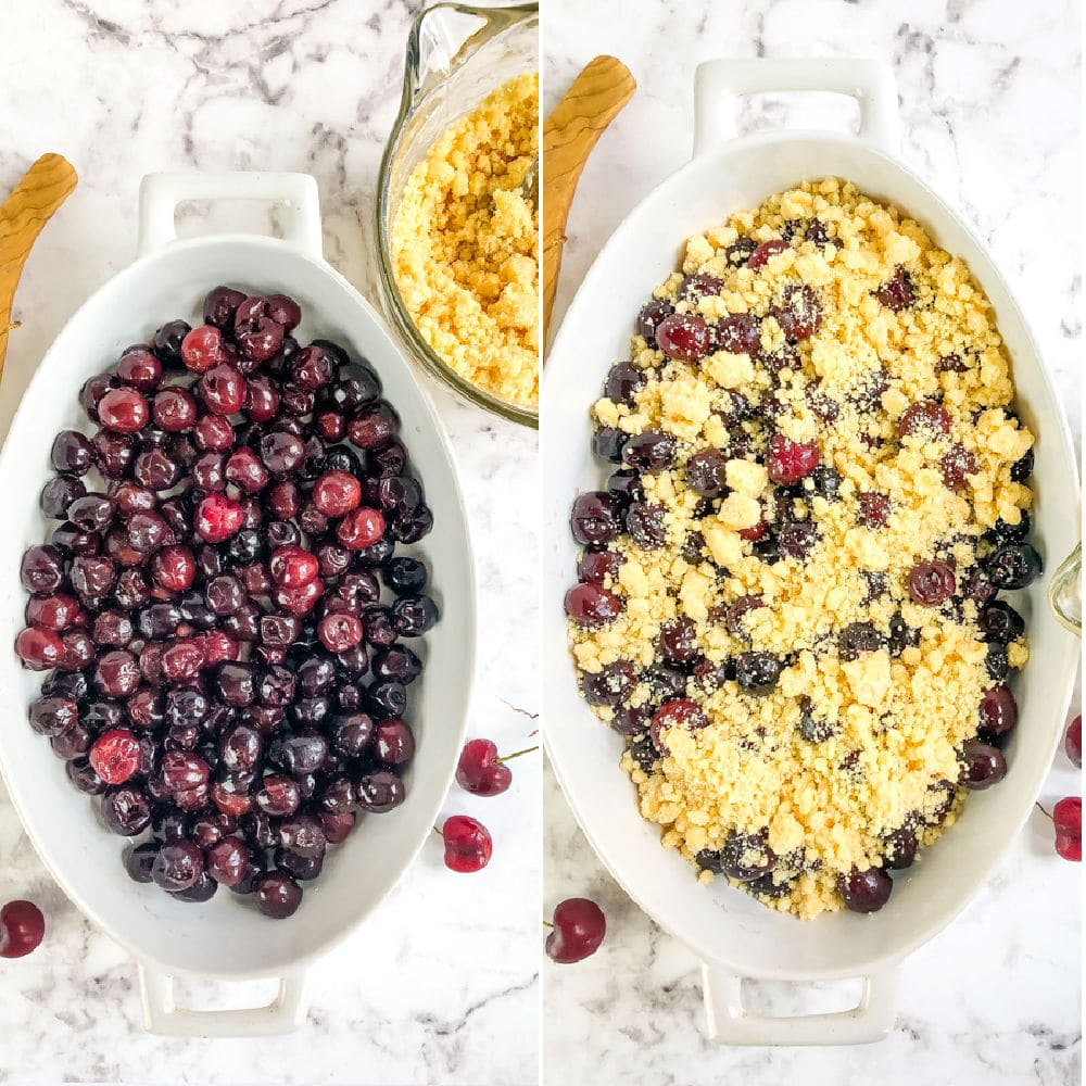 Side by side images of cherries topped with cake mix crumble.