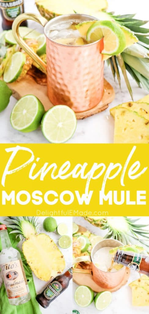 Pineapple Moscow Mule recipe, with ingredients and ginger beer.