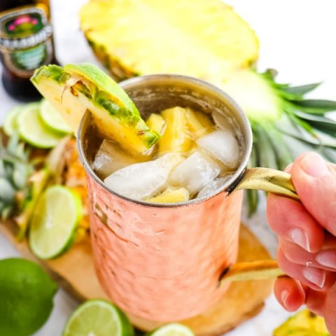 Pineapple Moscow Mule, in copper mug.