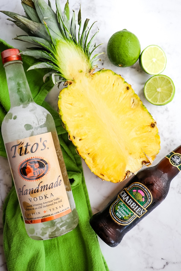 Ingredients for a pineapple Moscow mule.