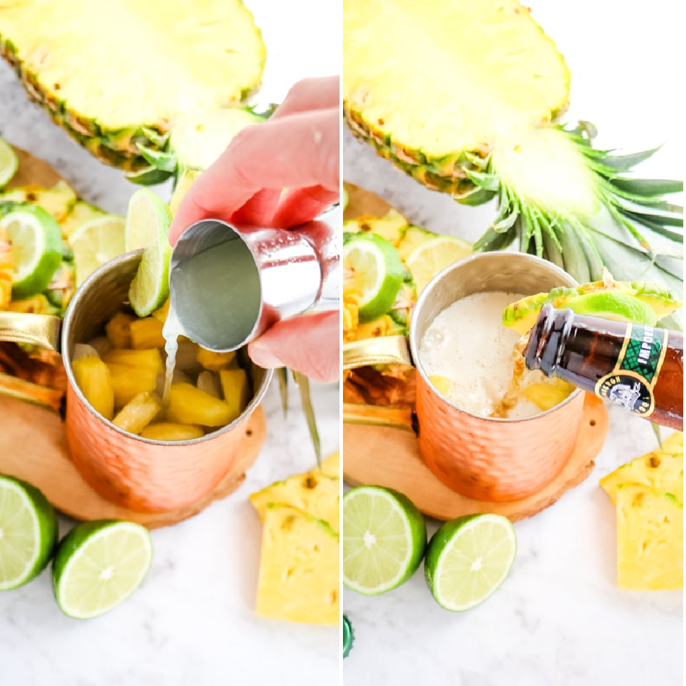 Lime juice and ginger beer poured into a copper mug for a pineapple moscow mule.