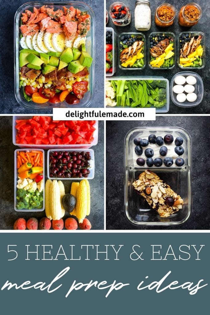 Healthy meal prep ideas for the week, fruits vegetables, salads, eggs and oats.