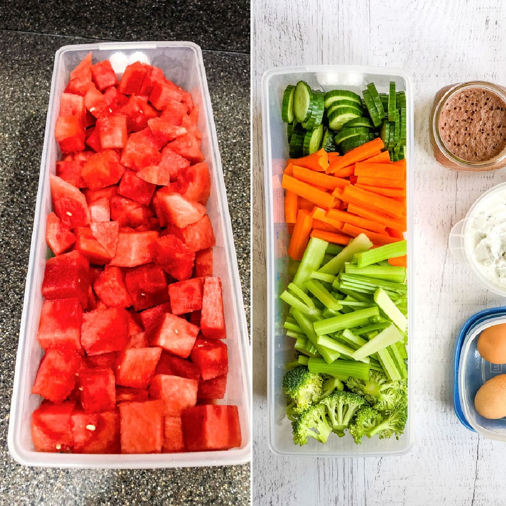 Cubed watermelon and cut vegetables as healthy meal prep ideas for the week.