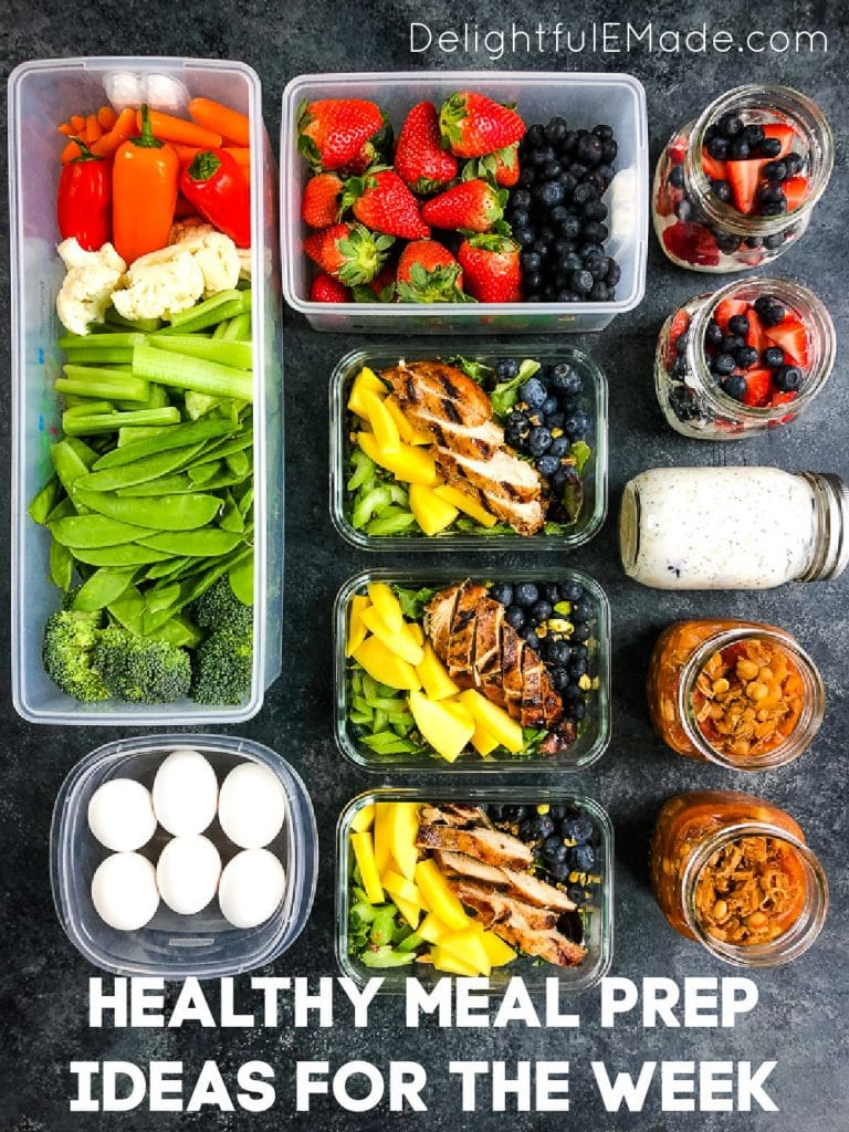 Healthy meal prep ideas for the week, salads, fruit, veggies, eggs, soup.
