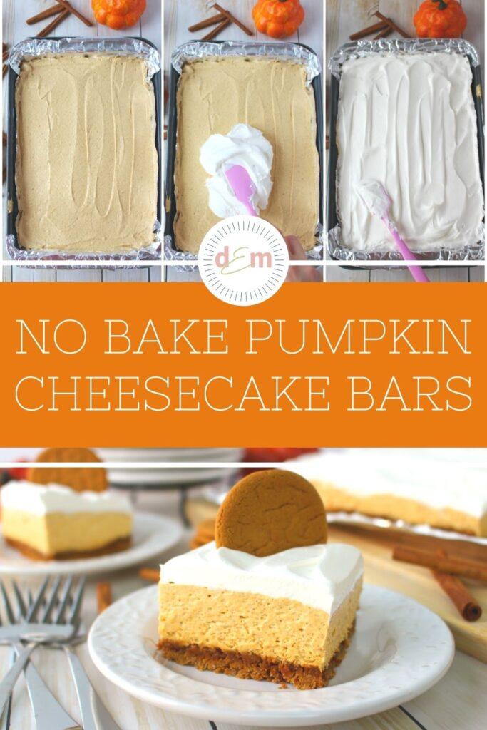 pan of no bake pumpkin cheesecake topped with whipped topping, and square of pumpkin cheesecake.
