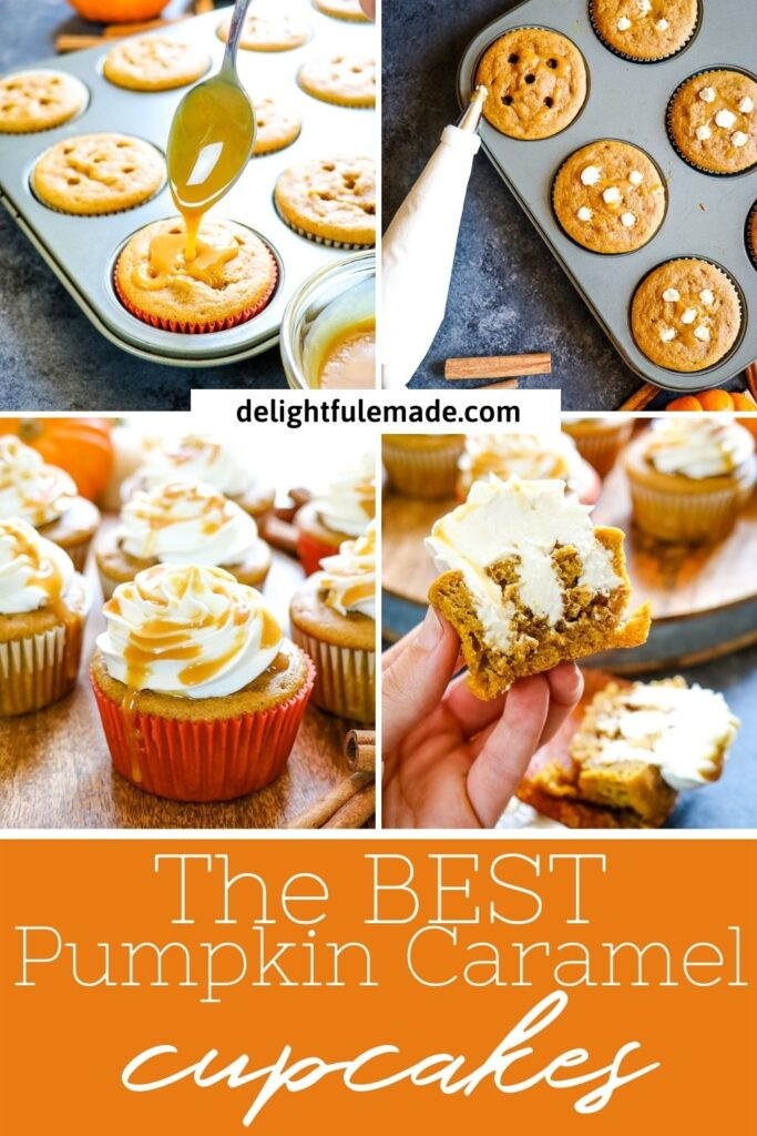 four images of caramel pumpkin cupcakes, topped with caramel, piped with cream cheese, and cream cheese filling.