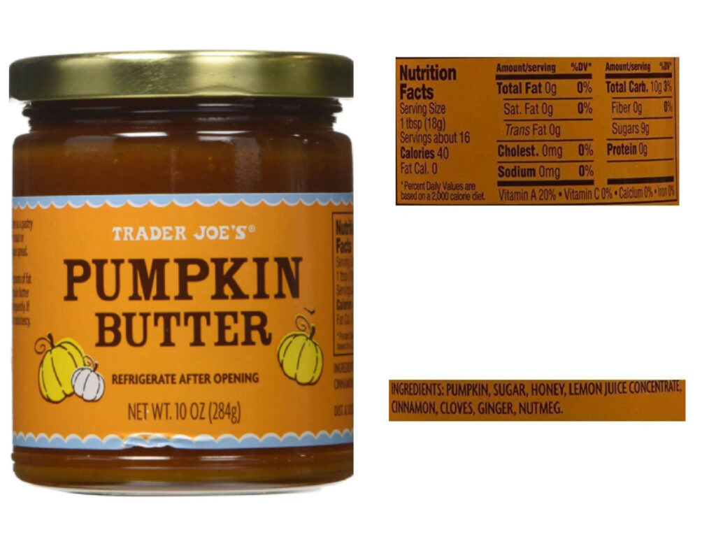 Trader Joe's pumpkin butter, nutrition label and ingredients label.