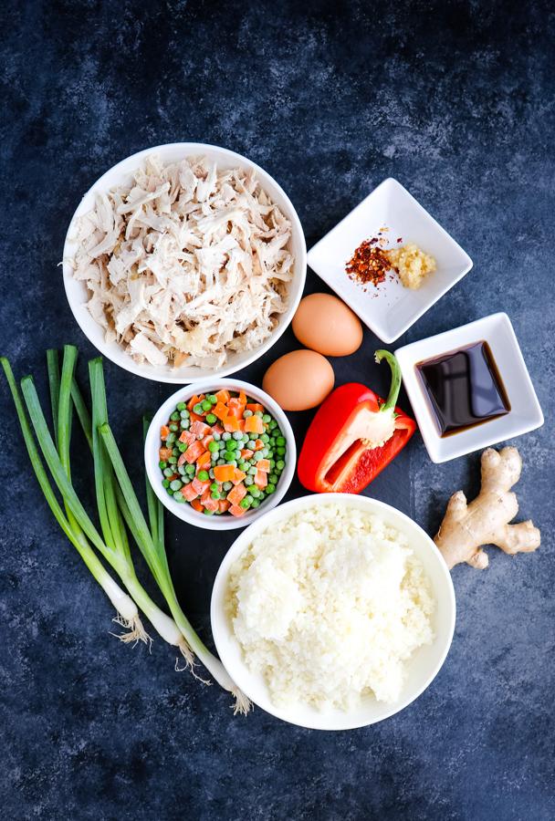 ingredients for healthy cauliflower chicken fried rice.