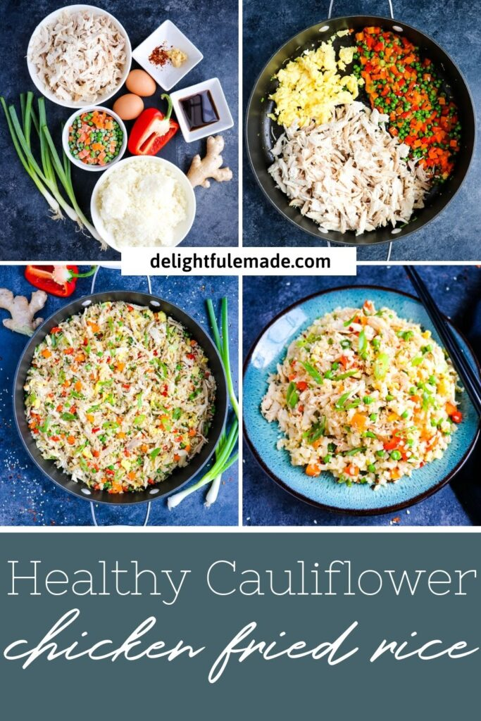 ingredients and step by step photos for making cauliflower chicken fried rice.