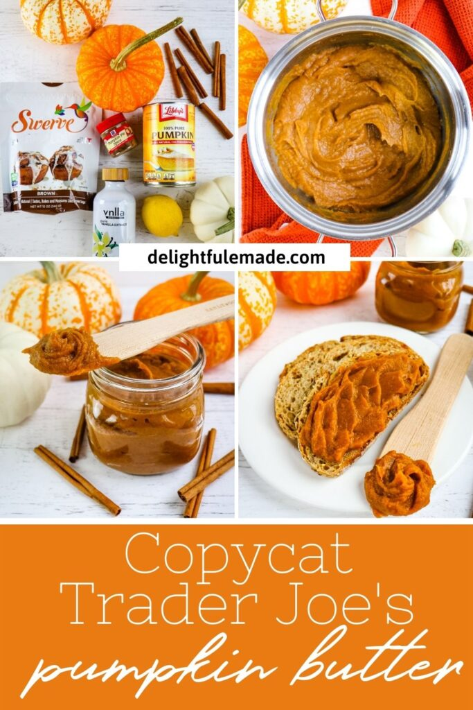 photo collage of homemade pumpkin butter, ingredients, in jar and in saucepan.