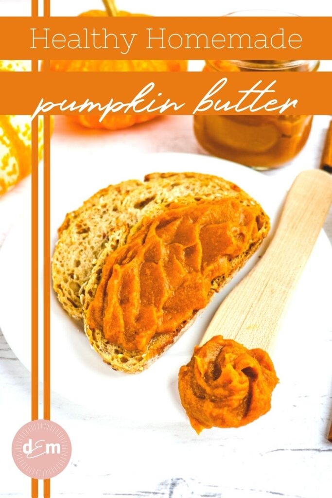 homemade pumpkin butter on toast and dollop on spatula.