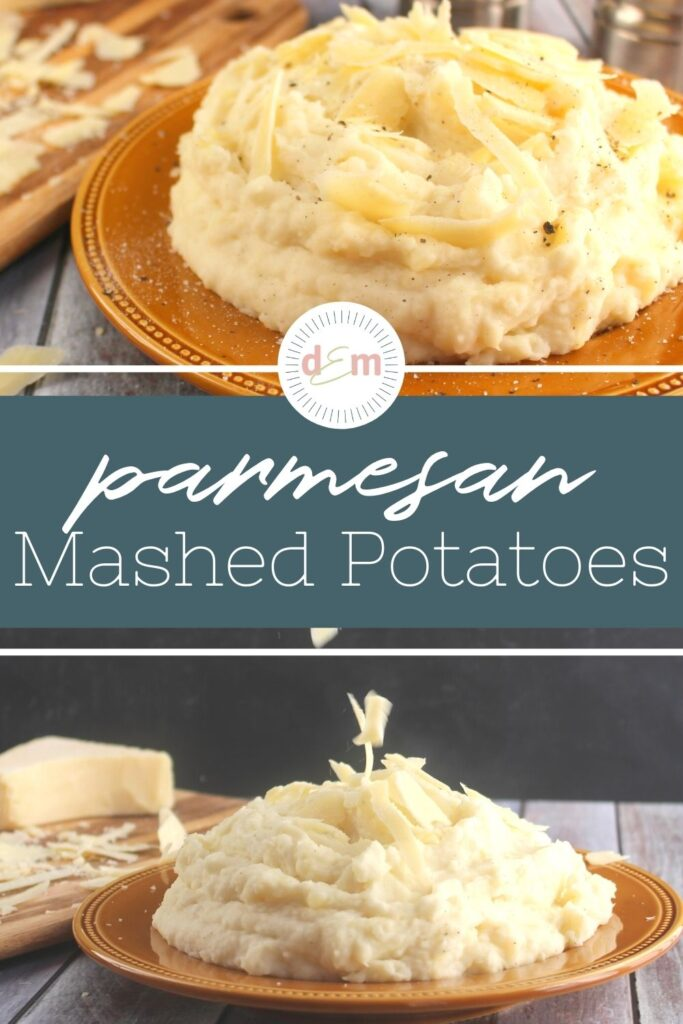 parmesan mashed potatoes topped with shavings of parmesan cheese.