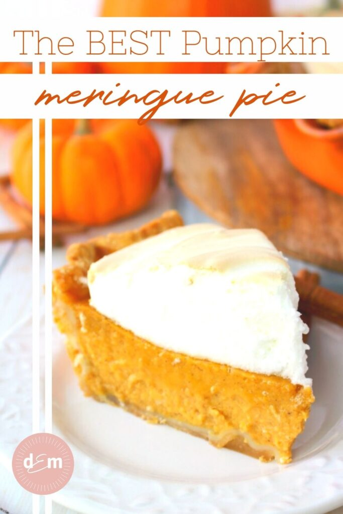 Slice of pumpkin meringue pie, on plate, garnished with pumpkins and cinnamon sticks.