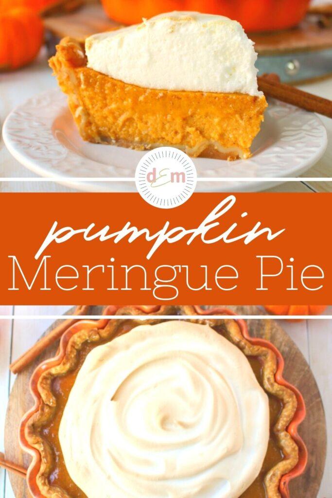 slice of pumpkin pie with meringue, on plate.